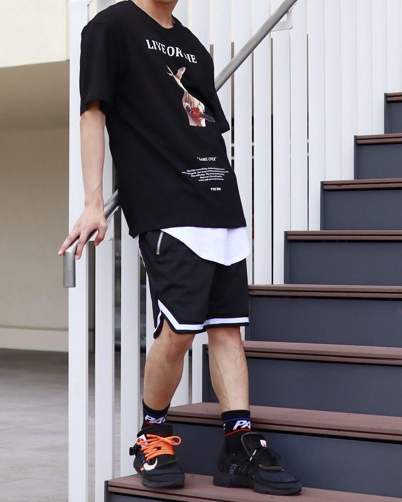 バスケットサルエルメッシュショートパンツ ハーフパンツ メンズの商品画像2